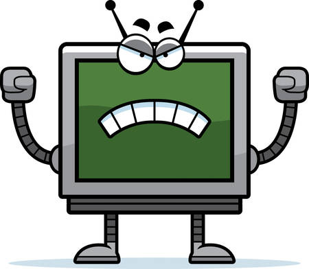 A cartoon illustration of a computer monitor robot looking angry.