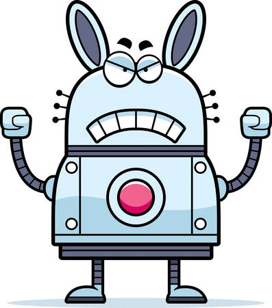 raging: A cartoon illustration of a robot rabbit looking angry. Illustration