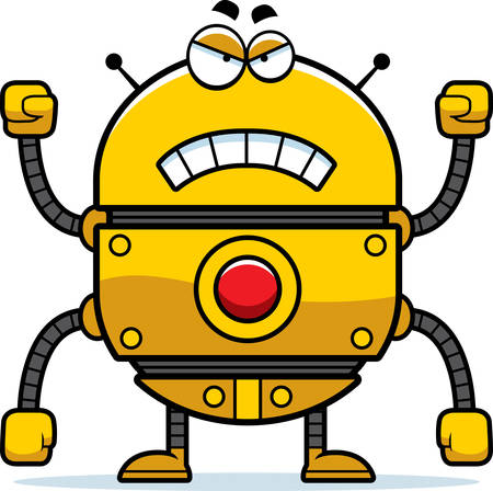A cartoon illustration of a gold robot looking angry. 向量圖像
