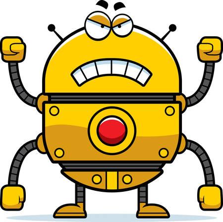 A cartoon illustration of a gold robot looking angry. Illusztráció
