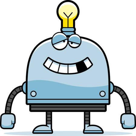 impaired: A cartoon illustration of a malfunctioning little robot.