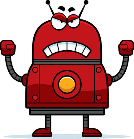 A cartoon illustration of a red robot looking angry. Çizim