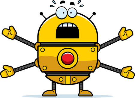 A cartoon illustration of a gold robot looking scared.