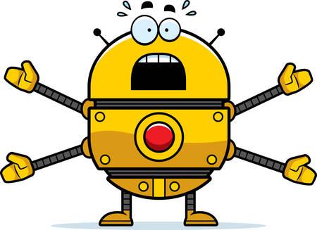 A cartoon illustration of a gold robot looking scared. Reklamní fotografie - 42602621