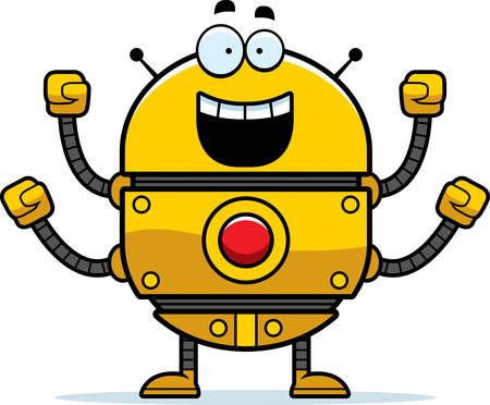 smirking: A cartoon illustration of a gold robot celebrating success. Illustration