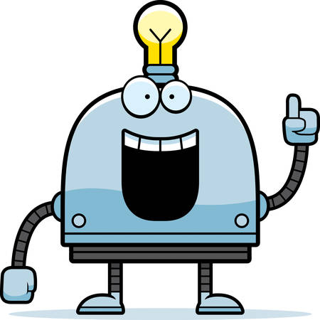talking robot: A cartoon illustration of a little robot with an idea.