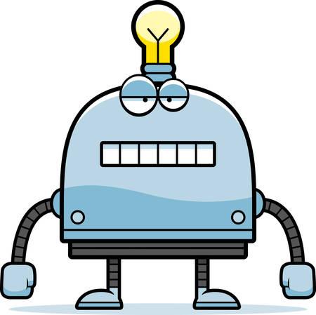 unemotional: A cartoon illustration of a little robot with an unemotional expression. Illustration
