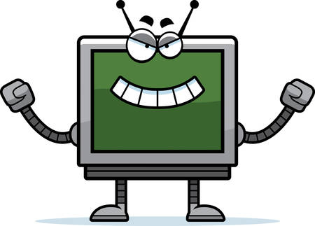 A cartoon illustration of an evil looking computer monitor robot.