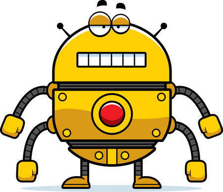 unemotional: A cartoon illustration of a gold robot with an unemotional expression.