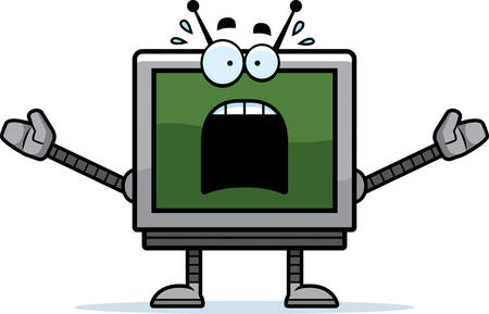 looking at computer: A cartoon illustration of a computer monitor robot looking scared.