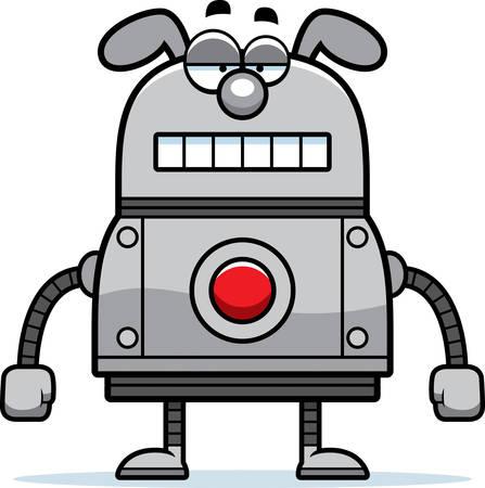 unemotional: A cartoon illustration of a robot dog with an unemotional expression. Illustration