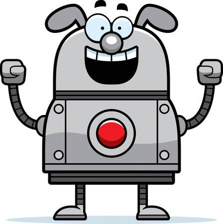 A cartoon illustration of a robot dog celebrating success.