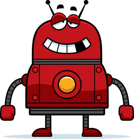 A cartoon illustration of a malfunctioning red robot.