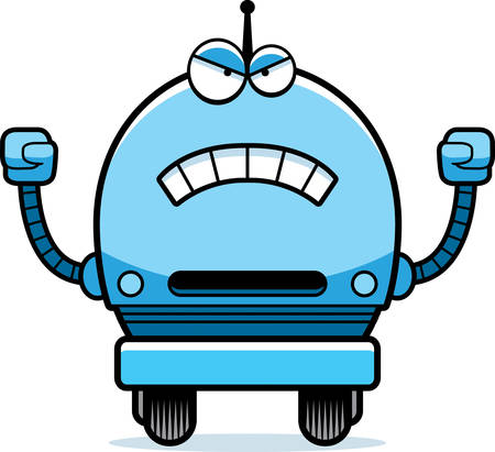 A cartoon illustration of a male blue robot looking angry.