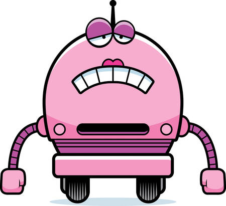 female pink: A cartoon illustration of a female pink robot looking sad.