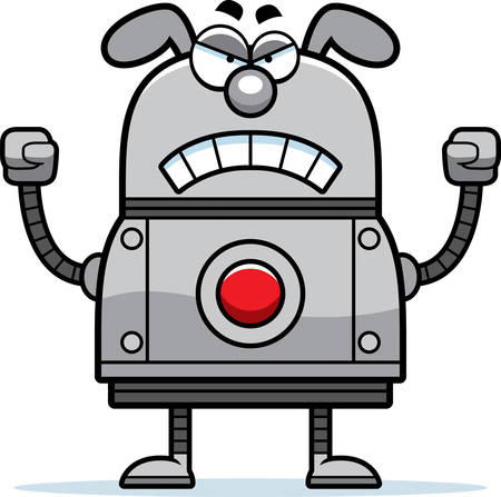 A cartoon illustration of a robot dog looking angry. Illustration