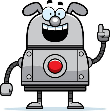 talking robot: A cartoon illustration of a robot dog with an idea.