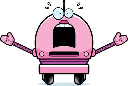 female pink: A cartoon illustration of a female pink robot looking scared. Illustration