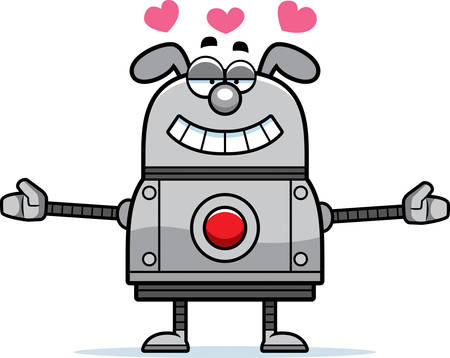 infatuated: A cartoon illustration of a robot dog ready to give a hug. Illustration