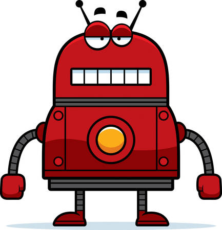 unemotional: A cartoon illustration of a red robot with an unemotional expression.