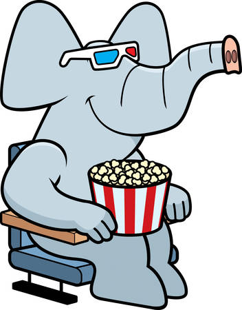 watching 3d: A cartoon illustration of a elephant watching a 3D movie.