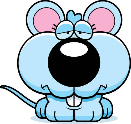 sad cartoon: A cartoon illustration of a baby mouse with a sad expression. Illustration