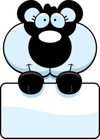 panda cub: Un ejemplo de la historieta de un cachorro de panda con un cartel blanco.