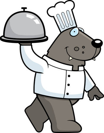 serving food: A cartoon illustration of a wolf chef serving food.