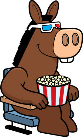 watching 3d: A cartoon illustration of a donkey watching a 3D movie.