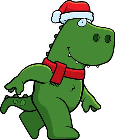 tyrannosaurus rex: Un ejemplo de la historieta de un dinosaurio Tyrannosaurus Rex con un sombrero de la Navidad y la bufanda en.