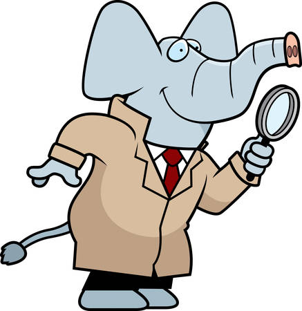 crime solving: A cartoon illustration of an elephant detective with a magnifying glass. Illustration