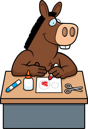 jackass: A cartoon illustration of a donkey doing arts and crafts.