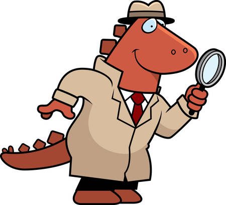 A cartoon illustration of a dinosaur detective with a magnifying glass.