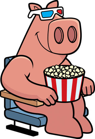 watching 3d: A cartoon illustration of a pig watching a 3D movie. Illustration