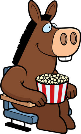 jackass: A cartoon illustration of a donkey at the movies. Illustration