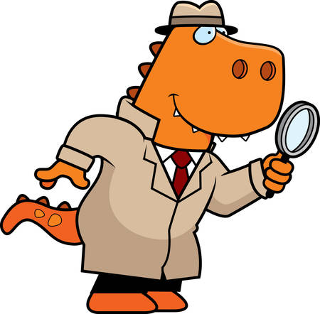 crime solving: A cartoon illustration of a Tyrannosaurus Rex dinosaur detective with a magnifying glass.