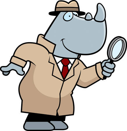 A cartoon illustration of a rhino detective with a magnifying glass. 矢量图像