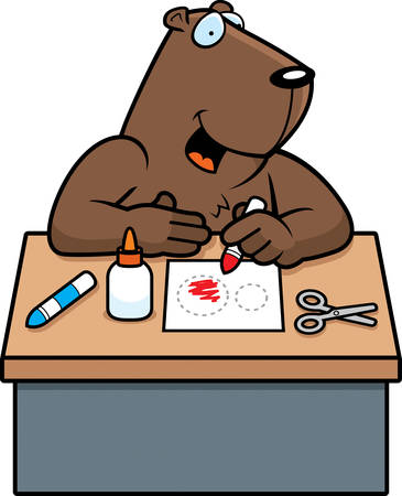 crayon  scissors: A cartoon illustration of a groundhog doing arts and crafts.
