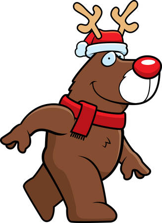 winter hat: A cartoon illustration of a reindeer with a Christmas hat and scarf on.