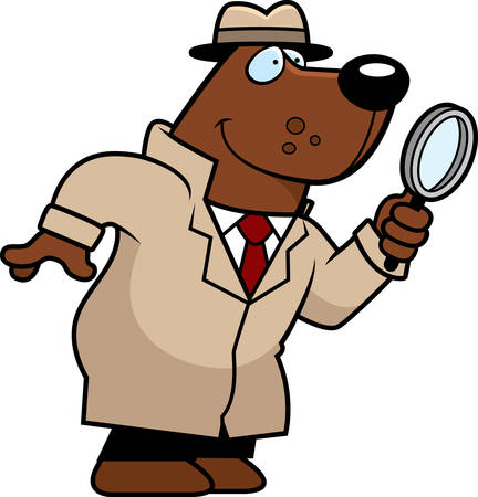 crime solving: A cartoon illustration of a bear detective with a magnifying glass.