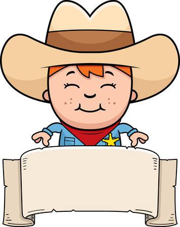 A cartoon illustration of a little cowboy with a banner. Illusztráció