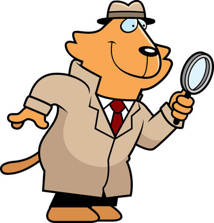 animal private: A cartoon illustration of a cat detective with a magnifying glass. Illustration