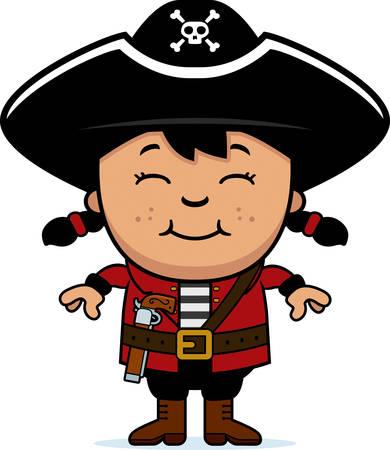 Een cartoon illustratie van een piraat kind staan en glimlachen. Stock Illustratie