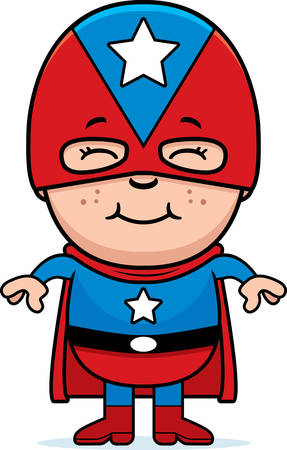 A cartoon illustration of a boy superhero standing and smiling.