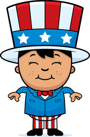 hispanic boys: A cartoon illustration of a patriotic boy standing and smiling.