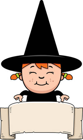 A cartoon illustration of a girl witch with a banner. Zdjęcie Seryjne - 42603048