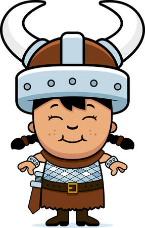 barbarian: A cartoon illustration of a girl barbarian standing and smiling.