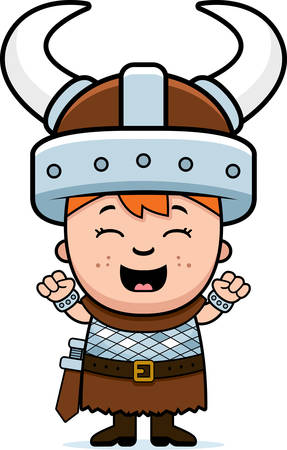 A cartoon illustration of a boy viking looking excited.
