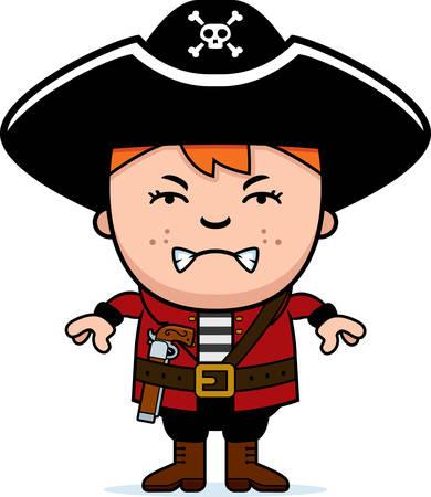 眉根を寄せた海賊少年の漫画イラスト。