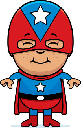 hispanic boys: A cartoon illustration of a boy superhero standing and smiling.
